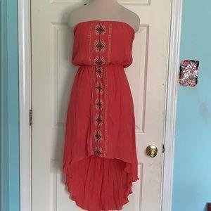 Coral hi/low sun dress